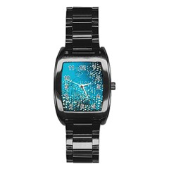 Flower Back Leaf River Blue Star Stainless Steel Barrel Watch by Mariart