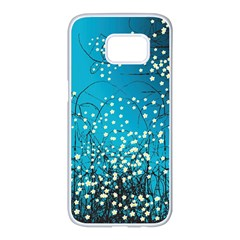 Flower Back Leaf River Blue Star Samsung Galaxy S7 Edge White Seamless Case by Mariart