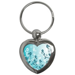 Flower Blue River Star Sunflower Key Chains (heart)  by Mariart