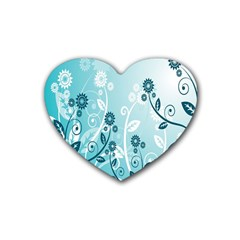 Flower Blue River Star Sunflower Rubber Coaster (heart)  by Mariart