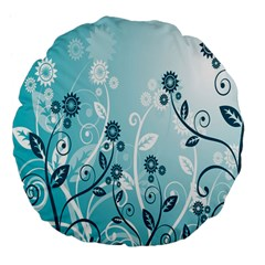 Flower Blue River Star Sunflower Large 18  Premium Flano Round Cushions by Mariart
