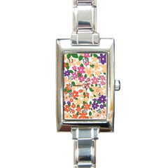 Flower Floral Rainbow Rose Rectangle Italian Charm Watch by Mariart