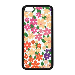 Flower Floral Rainbow Rose Apple Iphone 5c Seamless Case (black) by Mariart