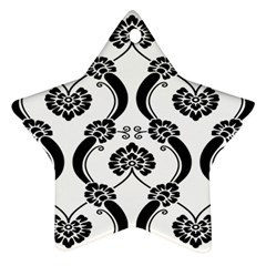 Flower Floral Black Sexy Star Black Ornament (star) by Mariart