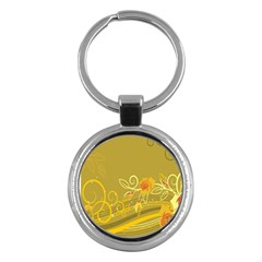 Flower Floral Yellow Sunflower Star Leaf Line Gold Key Chains (round)  by Mariart