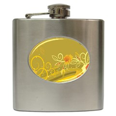 Flower Floral Yellow Sunflower Star Leaf Line Gold Hip Flask (6 Oz) by Mariart