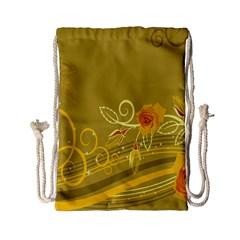 Flower Floral Yellow Sunflower Star Leaf Line Gold Drawstring Bag (small) by Mariart