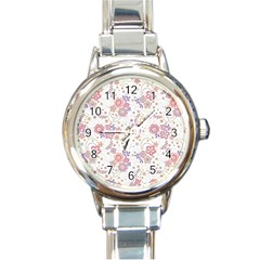 Flower Floral Sunflower Rose Purple Red Star Round Italian Charm Watch by Mariart