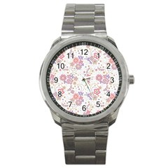Flower Floral Sunflower Rose Purple Red Star Sport Metal Watch by Mariart