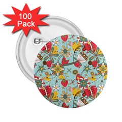 Flower Fruit Star Polka Rainbow Rose 2 25  Buttons (100 Pack)  by Mariart