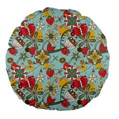 Flower Fruit Star Polka Rainbow Rose Large 18  Premium Flano Round Cushions by Mariart