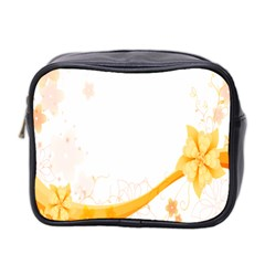 Flower Floral Yellow Sunflower Star Leaf Line Mini Toiletries Bag 2 Side by Mariart