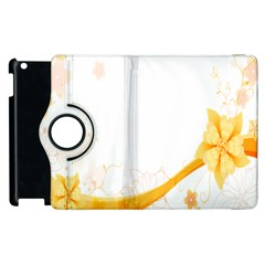 Flower Floral Yellow Sunflower Star Leaf Line Apple Ipad 2 Flip 360 Case by Mariart