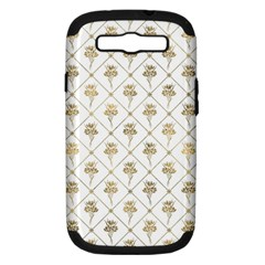 Flower Leaf Gold Samsung Galaxy S Iii Hardshell Case (pc+silicone) by Mariart
