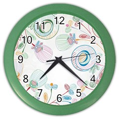 Flower Rainbow Circle Polka Leaf Sexy Color Wall Clocks by Mariart