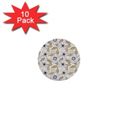 Flower Rose Sunflower Gray Star 1  Mini Buttons (10 Pack)  by Mariart