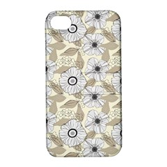 Flower Rose Sunflower Gray Star Apple Iphone 4/4s Hardshell Case With Stand by Mariart