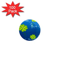 Flower Shamrock Green Blue Sexy 1  Mini Magnets (100 Pack)  by Mariart