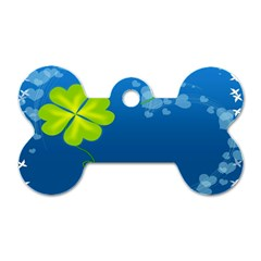 Flower Shamrock Green Blue Sexy Dog Tag Bone (two Sides) by Mariart