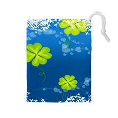 Flower Shamrock Green Blue Sexy Drawstring Pouches (large)  by Mariart