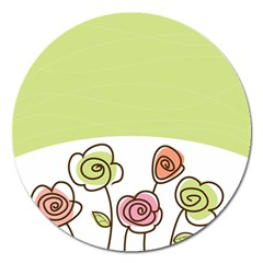 Flower Simple Green Rose Sunflower Sexy Magnet 5  (round) by Mariart