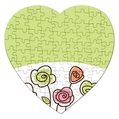 Flower Simple Green Rose Sunflower Sexy Jigsaw Puzzle (heart) by Mariart