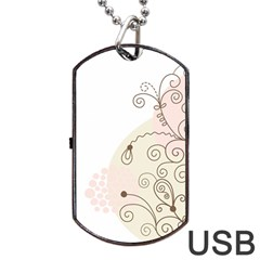 Flower Simple Pink Dog Tag Usb Flash (two Sides) by Mariart