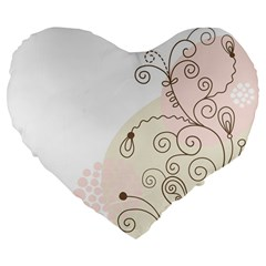 Flower Simple Pink Large 19  Premium Flano Heart Shape Cushions by Mariart