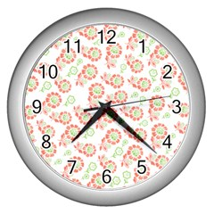 Flower Rose Red Green Sunflower Star Wall Clocks (silver)  by Mariart