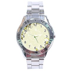 Flower Star Floral Green Camuflage Leaf Frame Stainless Steel Analogue Watch by Mariart