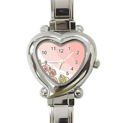 Flower Sunflower Wave Waves Pink Heart Italian Charm Watch by Mariart