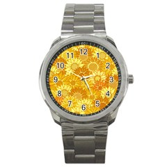 Flower Sunflower Floral Beauty Sexy Sport Metal Watch by Mariart