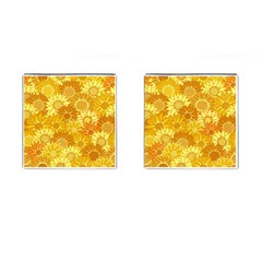 Flower Sunflower Floral Beauty Sexy Cufflinks (square) by Mariart