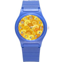 Flower Sunflower Floral Beauty Sexy Round Plastic Sport Watch (s) by Mariart