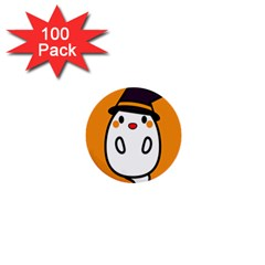 Halloween Ghost Orange 1  Mini Buttons (100 Pack)  by Mariart