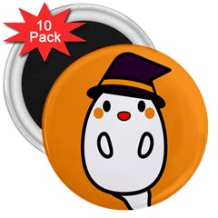 Halloween Ghost Orange 3  Magnets (10 Pack)  by Mariart