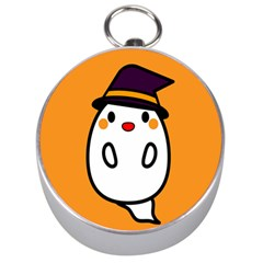 Halloween Ghost Orange Silver Compasses by Mariart