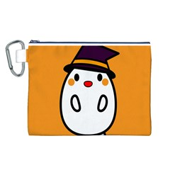 Halloween Ghost Orange Canvas Cosmetic Bag (l) by Mariart