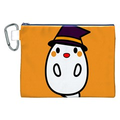 Halloween Ghost Orange Canvas Cosmetic Bag (xxl) by Mariart
