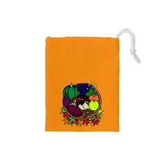 Healthy Vegetables Food Drawstring Pouches (small)  by Mariart