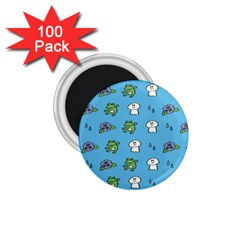 Frog Ghost Rain Flower Green Animals 1 75  Magnets (100 Pack)  by Mariart