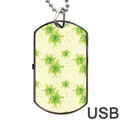 Leaf Green Star Beauty Dog Tag Usb Flash (two Sides) by Mariart