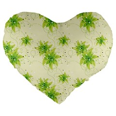 Leaf Green Star Beauty Large 19  Premium Flano Heart Shape Cushions by Mariart