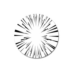 Line Black Sun Arrow Magnet 3  (round) by Mariart