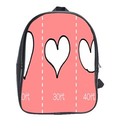 Love Heart Valentine Pink White Sexy School Bag (xl) by Mariart