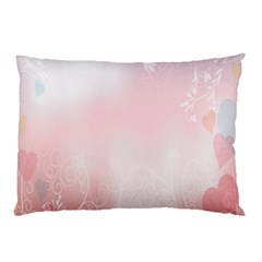 Love Heart Pink Valentine Flower Leaf Pillow Case by Mariart