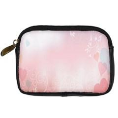 Love Heart Pink Valentine Flower Leaf Digital Camera Cases by Mariart