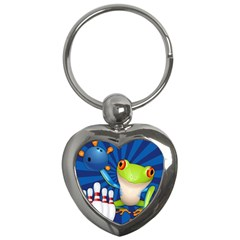 Tree Frog Bowling Key Chains (heart)  by crcustomgifts