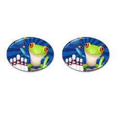 Tree Frog Bowling Cufflinks (oval) by crcustomgifts