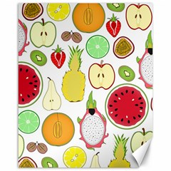 Mango Fruit Pieces Watermelon Dragon Passion Fruit Apple Strawberry Pineapple Melon Canvas 16  X 20   by Mariart